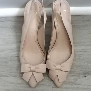 Nude blush pink Bally leather pumps